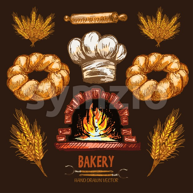 Digital color vector detailed line art golden braided bread, rolling pin, wheat, chef hat and red brick oven with woods ...