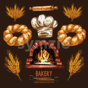 Digital color vector detailed line art golden braided bread, rolling pin, wheat, chef hat and red brick oven with woods on fire hand drawn set. Stock Vector