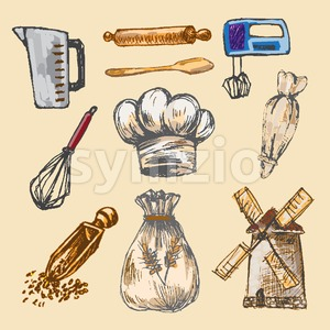 Digital color vector detailed line art pastry cream bag, chef hat, rolling pins, mixer, wheat, measuring cup and flour sack hand drawn set. Vintage Stock Vector