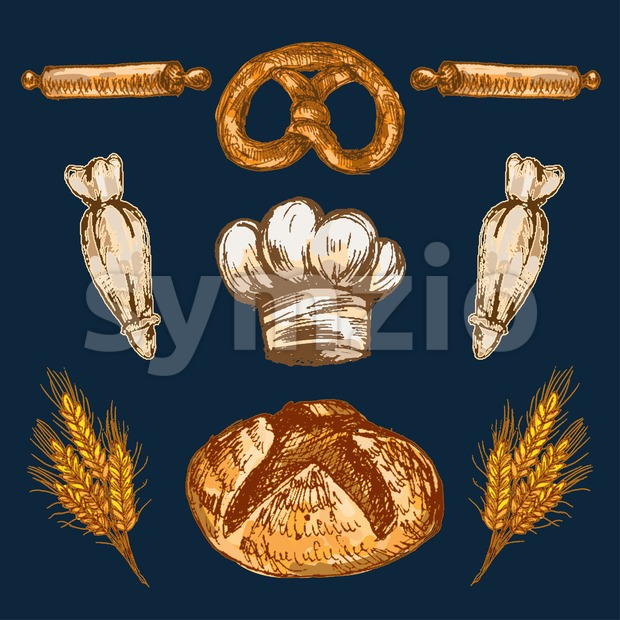 Digital color vector detailed line art pastry cream bag, chef hat, rolling pins, pretzel and golden wheat with round bread hand drawn retro set. Stock Vector