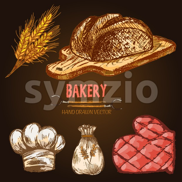 Digital color vector line art round bread, wheat, oven forks, red brick oven with woods on fire, bakery utensils and ingredients hand drawn retro set. Stock Vector