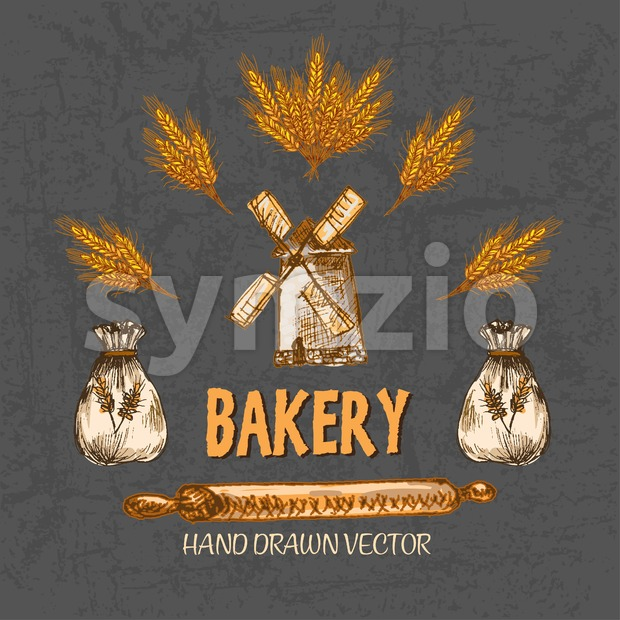 Digital color vector detailed line art golden bakery icon with wheat, rolling pin and flour sacks hand drawn set. Thin pencil artistic outline. Stock Vector