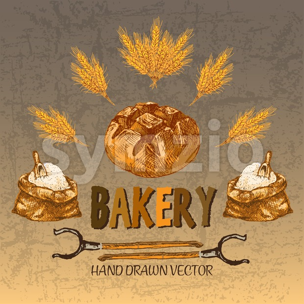 Digital color vector detailed line art golden bakery sign with wheat and oven forks hand drawn set. Thin pencil artistic ...