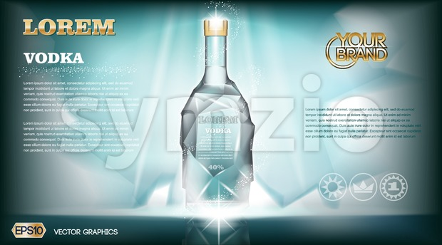 Digital vector aqua silver vodka bottle mockup Stock Vector