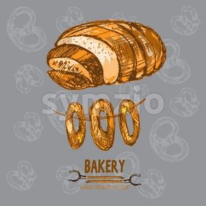 Digital color vector detailed line art golden bakery sign with bagels on string, loaf of bread and oven forks hand drawn set. Thin outline. Vintage Stock Vector