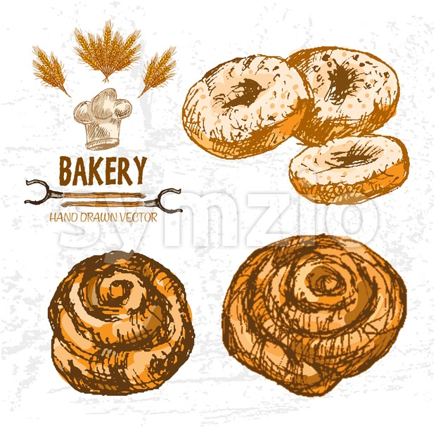 Digital color vector detailed line art golden rolls, donuts, wheat, oven forks and chef hat hand drawn illustration set. Thin outline. Vintage ink Stock Vector