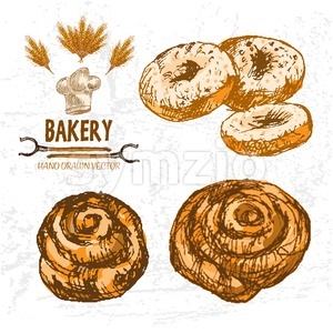 Digital color vector detailed line art golden rolls, donuts, wheat, oven forks and chef hat hand drawn illustration set. Thin outline. Vintage ink Stock Vector