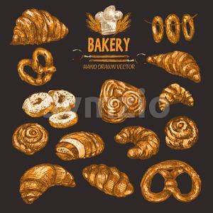 Digital color vector detailed line art golden rolls, donuts, pretzels, bagels on string, pig ears, croissants, wheat, oven forks and chef hat hand Stock Vector