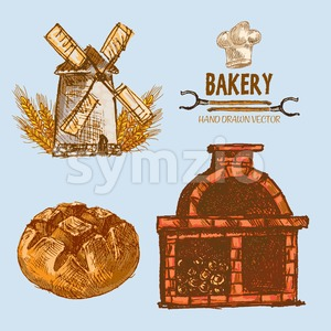 Digital color vector detailed line art round bread, wheat an red brick oven with woods prepared for fire hand drawn illustration set. Vintage ink Stock Vector