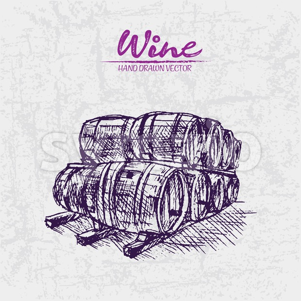 Digital color vector detailed line art purple wooden wine barrels stacked hand drawn illustration set. Thin artistic pencil outline. Vintage ink flat, Stock Vector