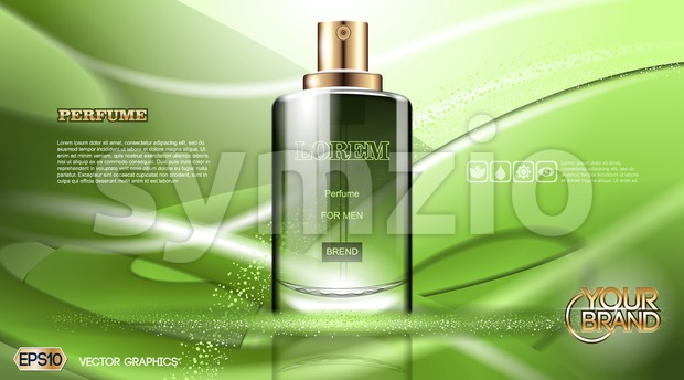Digital vector green glass perfume for men Stock Vector