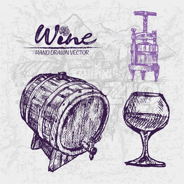 Digital color vector detailed line art wine press, wooden barrel and glass half full hand drawn illustration set. Thin pencil artistic outline. Stock Vector