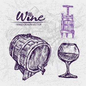 Digital color vector detailed line art wine press, wooden barrel and glass half full hand drawn illustration set. Thin pencil artistic outline. Stock Vector