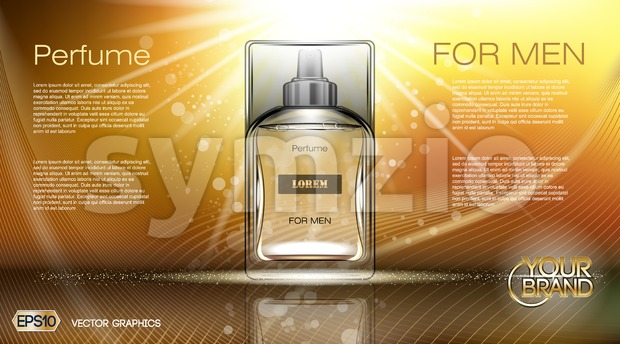 Digital vector brown and yellow glass perfume Stock Vector