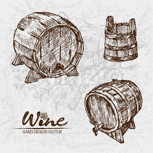 Digital color vector detailed line art wooden wine barrels with tap and bucket hand drawn retro illustration set. Thin pencil artistic outline. Stock Vector