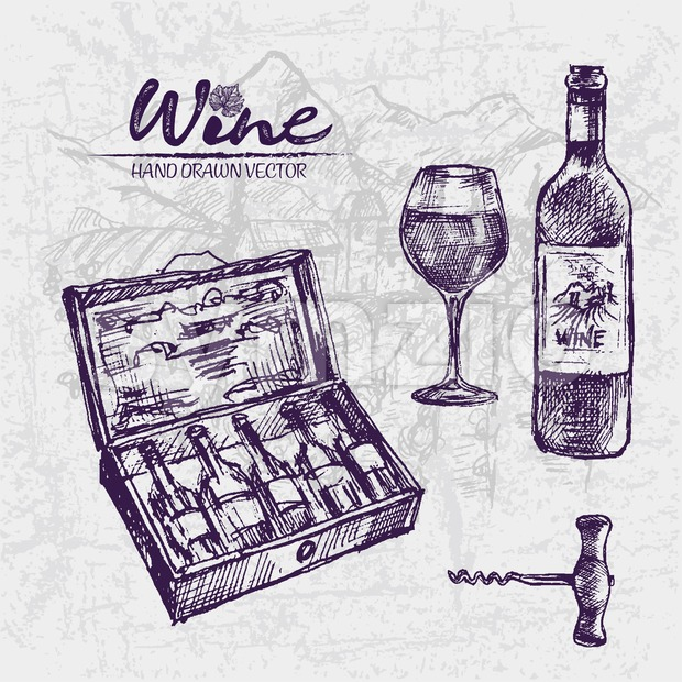 Digital color vector detailed line art premium wooden box with wine bottles, corkscrew and glass half full hand drawn illustration set outlined. Stock Vector