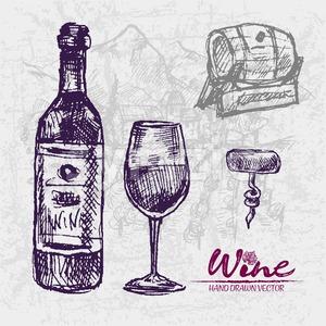 Digital color vector detailed line art wooden barrel, wine bootle, glass half full and corkscrew hand drawn retro illustration set. Vintage ink flat, Stock Vector