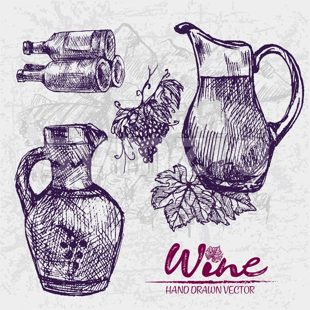 Digital color vector detailed line art ornamented and transparent pitchers, wine bottles stacked and bunches with leaves hand drawn set. Vintage ink Stock Vector