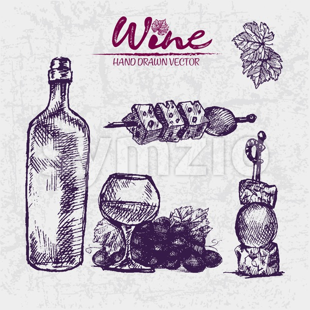 Digital color vector detailed line art cheese and olive on sticks, wine bottle, glass half full and grape bunch hand drawn illustration set. Vintage Stock Vector