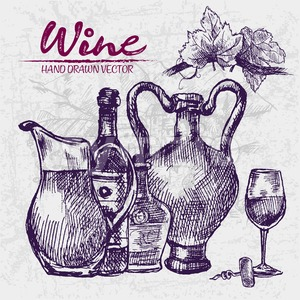 Digital color vector detailed line art wine old ancient pitchers, bottle, glass half full and leaves hand drawn retro illustration set. Vintage ink Stock Vector