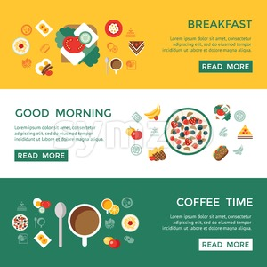 Digital vector breakfast meal fresh food and drinks color simple flat icon set with coffee eags, fruits and sweet cakes, isolated infographics website Stock Vector
