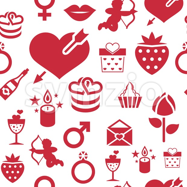 Digital vector february happy valentine's day and wedding celebration color simple flat icon set with red heart, angel and love isolated seamless Stock Vector