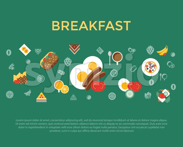 Digital vector breakfast meal fresh food and drinks color simple flat icon set with coffee eags, fruits and sweet cakes, ...