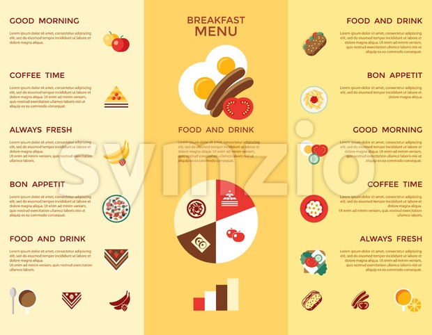 Digital vector breakfast meal fresh food and drinks color simple flat icon set with coffee eags, fruits and sweet cakes, isolated infographics menu Stock Vector