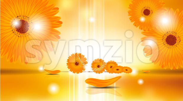 Digital Vector Sunflowers Background Stock Vector