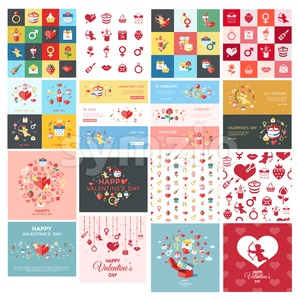 Digital vector february happy valentine day and wedding celebration color simple flat icon set with red heart, angel and love isolated Stock Vector