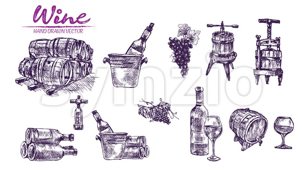 Digital color vector bundle set detailed line art vintage purple wooden wine barrels stacked hand drawn illustration set. Thin artistic ...