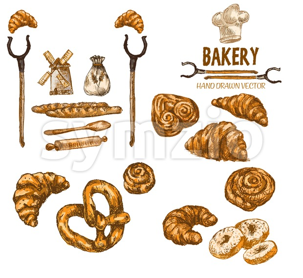 Digital color vector detailed line art golden croissant, roll, donuts, oven forks wheat and chef hat hand drawn illustration set. Vintage ink flat, Stock Vector
