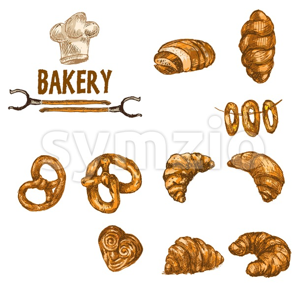Digital color vector detailed line art golden croissants, wheat, oven forks and chef hat hand drawn illustration set. Thin outline. ...