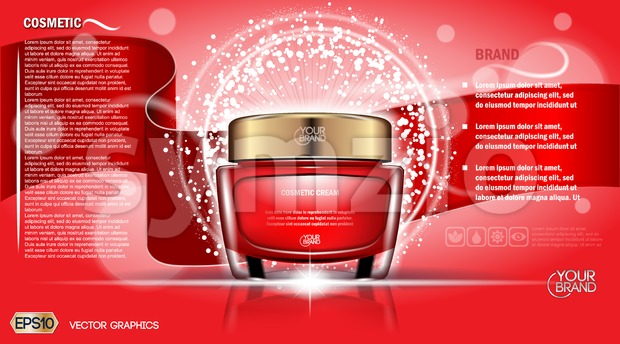 Moisturizing Cream cosmetic ads template. Hydrating face lotion. Mockup 3D Realistic illustration. Sparkling background red colors. EPS 10