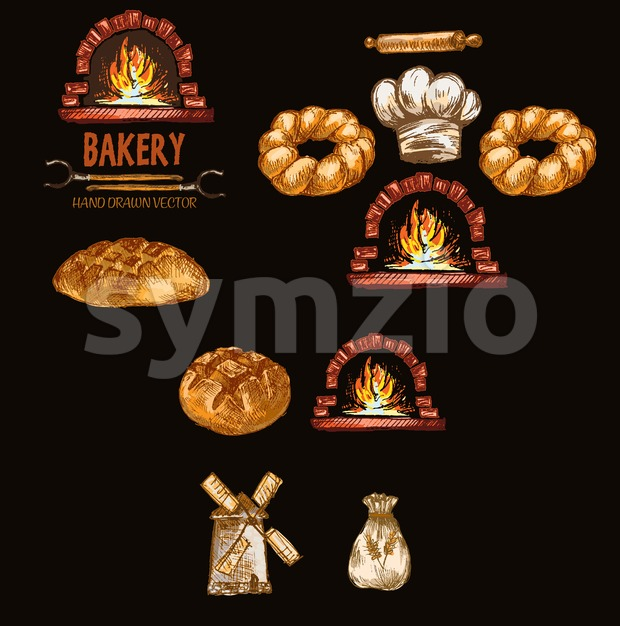 Digital color vector detailed line art round bread, flour sack, red brick oven with woods on fire hand drawn retro illustration set outlined. Vintage Stock Vector