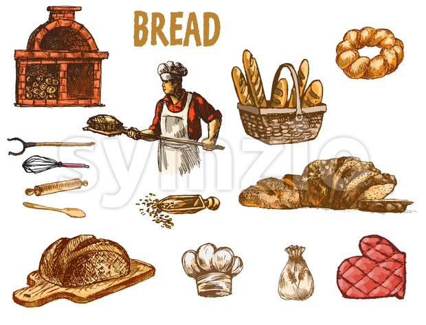 Digital color vector baker in red shirt with chef hat holding a wooden paddle with bread on it, bakery utensils, brick oven with woods hand drawn set. Stock Vector
