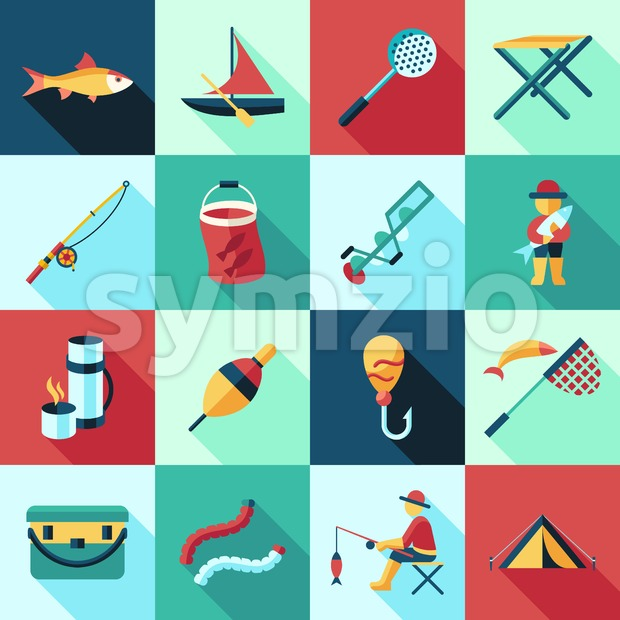 Digital vector fishing activity set collection decoration objects color simple flat icon with holding net or rod, isolated