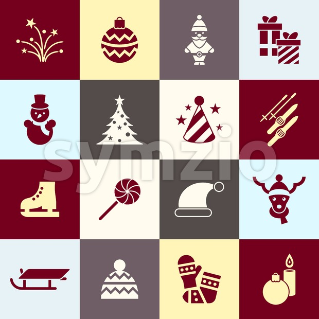 Digital vector christmas and new year holidays set collection decoration objects color simple flat icon with fir tree, isolated