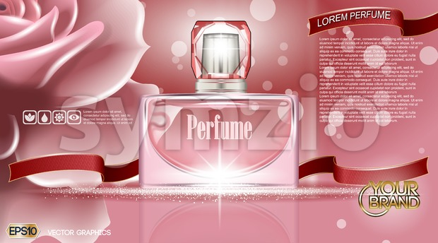 Perfume bottle Cosmetic ads Stock Vector