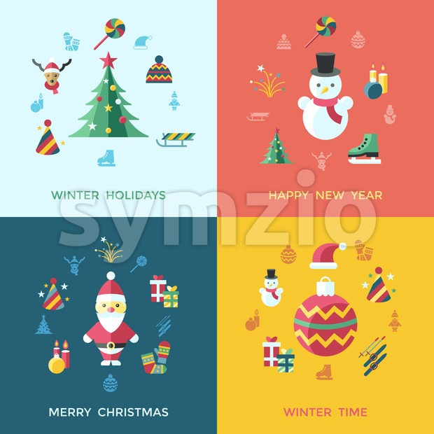Digital vector christmas and happy new year holidays set collection decoration objects color simple flat icon with fir tree, isolated