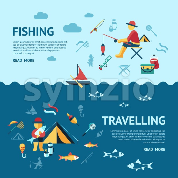 Digital vector fishing travelling activity infographics set collection decoration objects color simple flat icon with holding net or rod, isolated