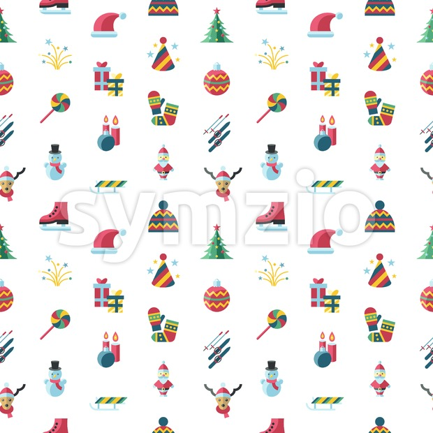 Digital vector seamless pattern christmas and new year holidays set collection decoration objects color simple flat icon with fir tree, ...