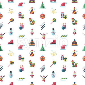 Digital vector seamless pattern christmas and new year holidays set collection decoration objects color simple flat icon with fir tree, isolated Stock Vector