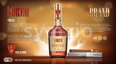 Cognac bottle Mock up Stock Vector