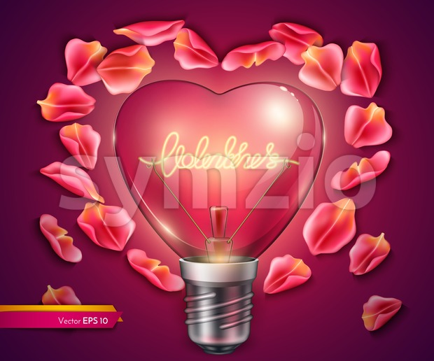Light bulb heart shaped. Vector realistic 3d illustration. Valentine day bright card rose petals decor Stock Vector
