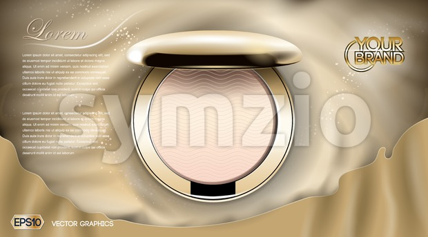 Luxury Cosmetics blush ads,. Golden cheek blush compact on silk background, Realistic 3d Vector illustration. EPS 10