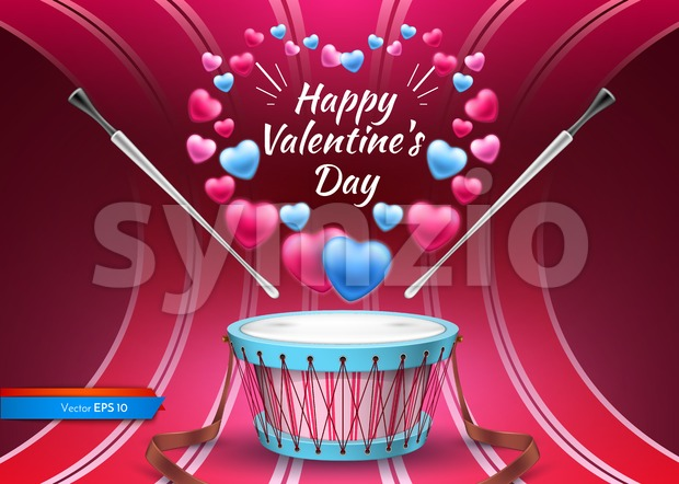 Valentine day card with drum Vector realistic. Colorful hearts background Stock Vector