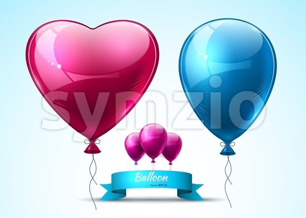 Pink and blue balloons realistic Vector. Heart shape shinny detailed 3d balloon Stock Vector
