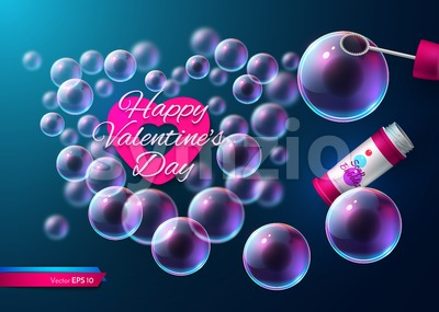 Valentine day soap transparent bubbles Vector. Realistic heart shape card illustration Stock Vector