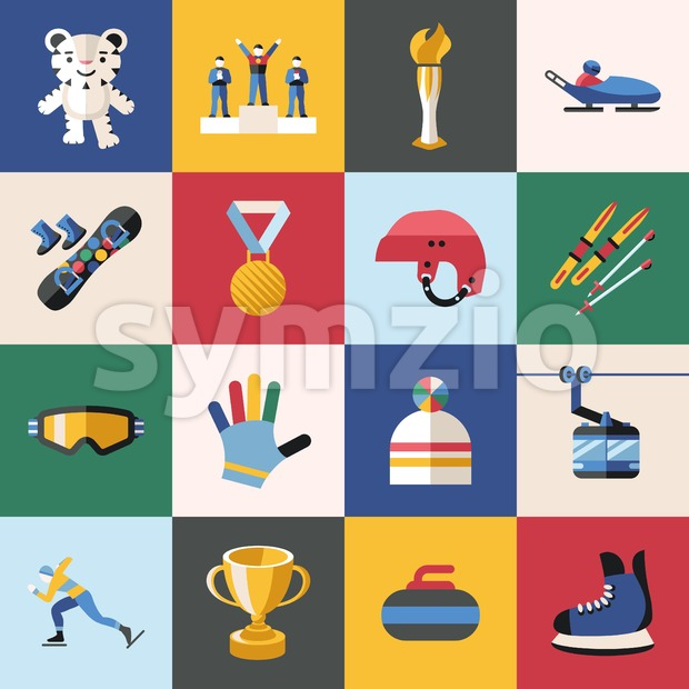 Digital vector winter games objects color simple flat icon with olympic games 2018 mascot, isolated Stock Vector